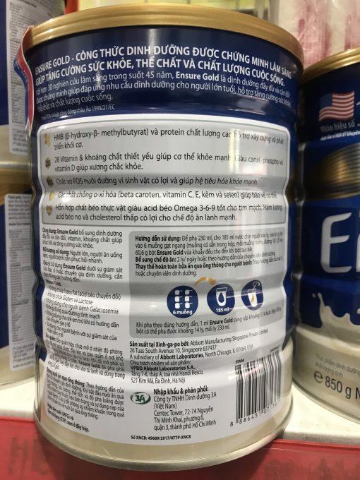 sữa bột ensure gold hộp thiếc 850g